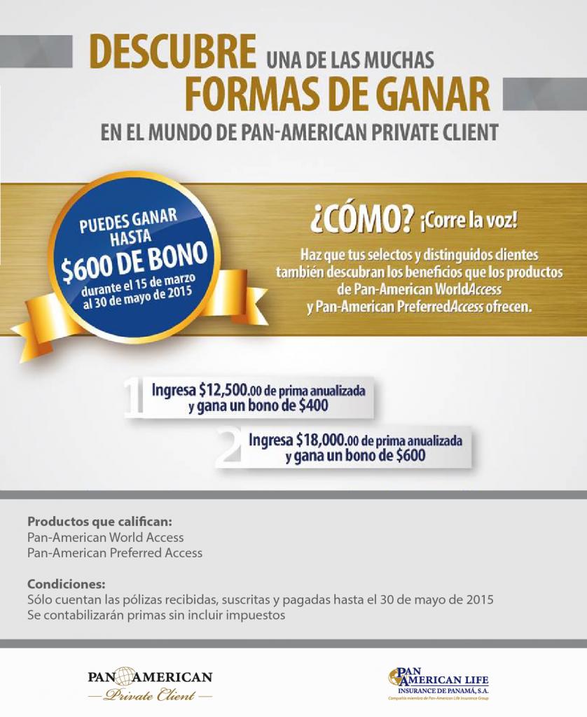 Descubra como ganar un bono conPan-American Panamá